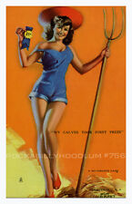 Pin Up Girl Poster 11x17 Mutoscope Card 1st place legs sexy farmer country babe