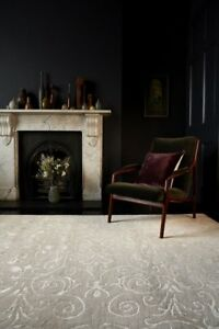 The Rug House Victoria Contemporary Cream Distressed Damask Floral Soft Wool...