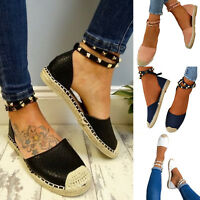 Womens Flat Sandals Rivet Ankle Strap Espadrilles Summer Beach Pumps Shoes Size