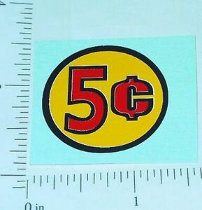Three (3) Generic 5 Cent Circle Vend Stickers V-15-5
