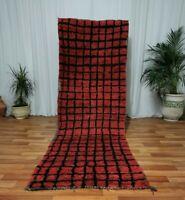 3x10 Moroccan Handmade Runner Rug Bohemian Berber Vintage Rug Tribal red art Rug
