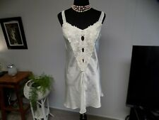 Vintage Flora Nikrooz Ivory Liquid Satin Lace Short Bridal Nightgown S