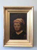 ANTIQUE OIL PAINTING PORTRAIT OF A YOUNG BOY SIGNED TG 1911, ORIGINAL GILT FRAME