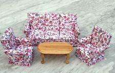Couchgarnitur Sofa, Sessel, Tisch Blume Puppenhausmöbel Wohnzimmer Miniatur 1:12