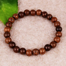 Men's Woman Chicken wing Wood Beaded Bracelet Fashion Jewelry Stretch Bangle 8mm