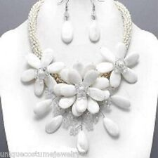 Chunky  White Ivory Mother of Pearl & Crystal Flower Statement Necklace Set