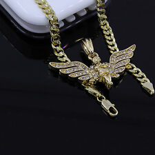 "Men's Gold Plated Long Wing Angel Pendant 24"" Cuban Chain Hip-Hop Necklace D606"