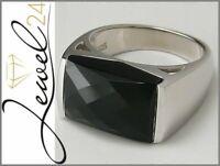 Damen Ring echt Silber 925 Sterling mit Onyx schwarz 56/17,8mm groß Solitär