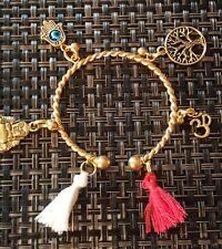 Tree of Life Tassel Charm Bracelet Cuff Gold Bangle Buddha Om Hamsa Hand Eye