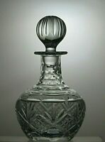 "CUT GLASS LEAD CRYSTAL ROUND DECANTER WITH STOPPER 9 3/4"" TALL ( 25 CM )"