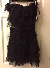 KATE YOUNG Black Strapless Tiered Ruffle Lace Cocktail Party Dress: Size 2