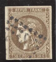 n°47 Bordeaux 30c brun 1870 oblitéré GC - TB signé Calves
