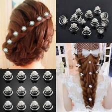 12 Pcs Épingles Cheveux Strass Perle Spirale Accessoire Mariage Soirée Bijoux NF