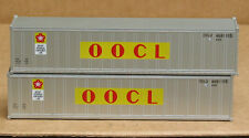 2 Walthers #8302, UPGRADED HO 40' smooth side containers, OOCL, old logo