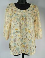 LC Lauren Conrad Multi-Color Sheer Floral 3/4 Sleeve Blouse Women's Size Medium