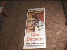 SHE DEMONS 1958 INSERT 14X36 MOVIE POSTER HORROR