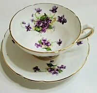 STANLEY TEACUP AND SAUCER PURPLE FLOWERS WITH GOLD TRIM