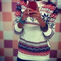 Women Long Sleeve Christmas Sweater Ladies Winter Pullover Jumper Snowflake Tops