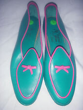 $375 LADIES BELGIAN SHOES MIDINETTE 5121 TURQUOISE / PINK LEATHER LOAFERS 8.5 N