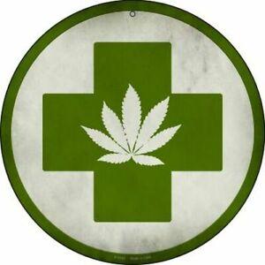 "Marijuana Leaf Green Cross 12"" Round Metal Sign ↔ Cannabis Weed 420 Home Decor"