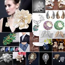 Wedding Bridal Colorful Rhinestone Crystal Pearl Animal Flower Broach Brooch Pin