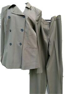 Ann Taylor Womens Pant Suit Sz 10T Tall Beige Buttons Wool Blend Blazer Career