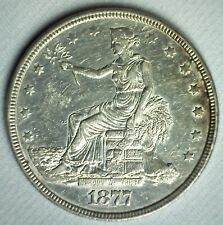1877 United States Trade Dollar US Silver Coin Almost Uncirculated Philly AU