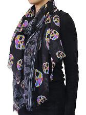 Neon Diamond Skull And White Dotted Cross Bone Trim W/ Baby Fringe Scarf Black
