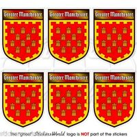 GREATER MANCHESTER UK England Shield Mobile Cell Phone Mini Stickers, Decals x6