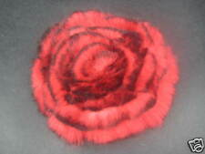 Rabbit Fur Brooch, Pin Flower Red With  Black Rim