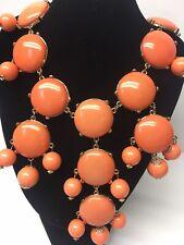 "20"" Coral Orange Gold Tone Chain Bubble Bauble Chunky Statement Bib Necklace"