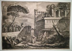 Veduta Sepolcro Mamia DESPREZ Gravure PIRANESI Citta Pompei PIRANESE 1789