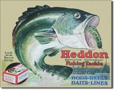 HEDDON  FISHING TACKLE ,VINTAGE-STYLE METAL WALL SIGN, 41x31cm, USA-IMPORT/ BASS