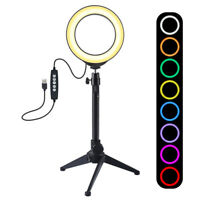 "10"" RGB LED Ring Light with 2M Tripod Dimmable Lighting Kit Makeup Youtube Live"