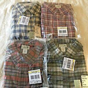 4 L.L. Bean Scotch Plaid Flannel Button Down Shirt Men XXL TALL Cotton Blue Red