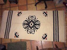 "handmade indian blanket 6'6"" x 3' white with blue orange and black"