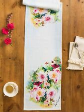 April Cornell Table Runner Peony Floral Collection NWT Cotton Multi Watercolor