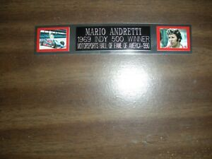 MARIO ANDRETTI (AUTO RACING) ENGRAVED NAMEPLATE FOR PHOTO/POSTER/FLAG