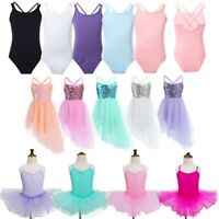 Girls Leotard Gymnastics Tulle Ballet Dance Dress Tutu Skirts Dance Wear Costume