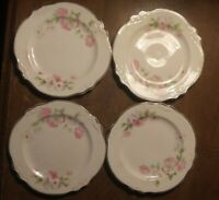 """Lot of 4 Homer Laughlin China Pink & White Floral Virginia Rose 6"""" Saucers Moss"""