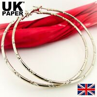 NEW PAIR OF LARGE 60mm 925 SILVER PLATED HOOP EARRINGS BIG HOOPS LADIES GIFT UK