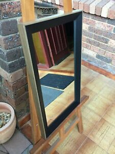 Decorative Wall Mirror Modern Black & Timber Frame 62cm x 37cm