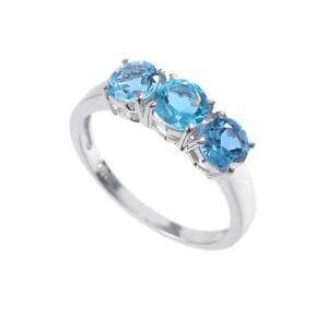 925Silver Swiss Blue Topaz Ring 3 Stone Engagement Ring swiss topaz Wedding Band