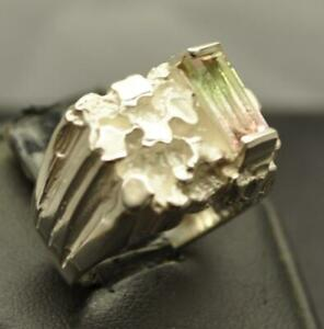 1.415 CT NEON WATERMELON TOURMALINE STERLING SILVER MENS HANDMADE RING SZ 7.5