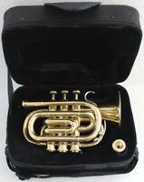 BRAND NEW BRASS LOOK Bb flat POCKET TRUMPET+FREE HARD CASE+MOUTHPIECE