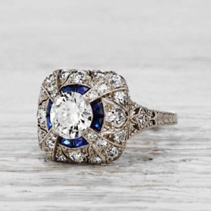 2.85 Ct Vintage Round Cut Art Deco Antique Engagement Ring 925 Sterling Silver