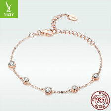Xmas 925 Sterling Silver Bracelet Rose Gold Charm Chain Crystal Women Jewelry