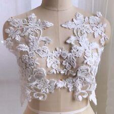 2Pcs Ivory Sequins Lace Applique Wedding Evening Dress Lace Fabric Collar Patch