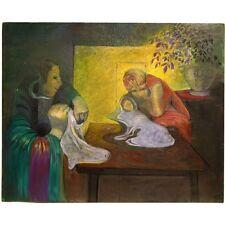 Original Unsigned Unframed Cool Britannia Surrealist Motherhood Acrylic Painting