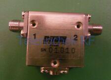 RF microwave single junction isolator 6.128 GHz, 4.624 GHz BW, 30 Watt CW, data